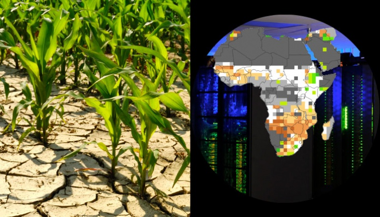 Left half depicts crops growing and right half depicts digitized image of Africa
