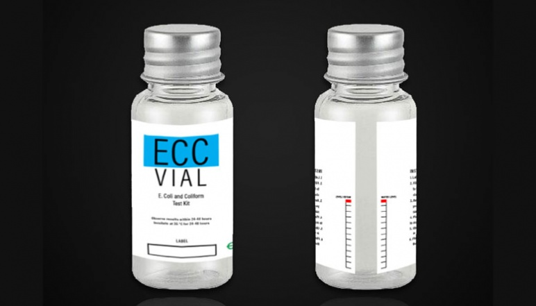 Front and back of EEC vial