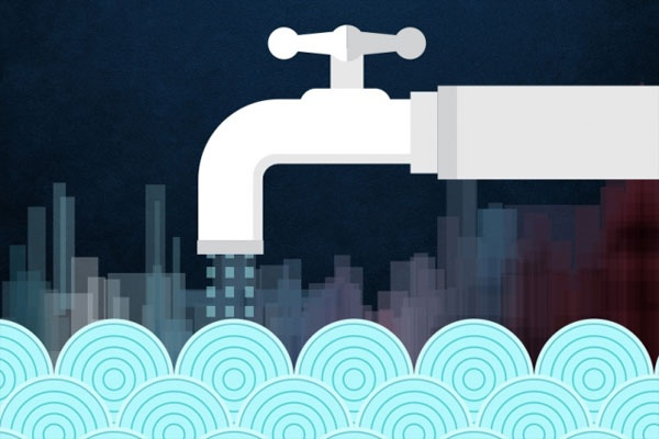 Stylized image of faucet pouring water into ocean