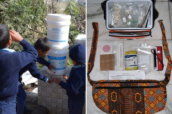 On left side of image are children getting clean water from filtered buckets and on the right side is a pouch with the components of the water testing kit