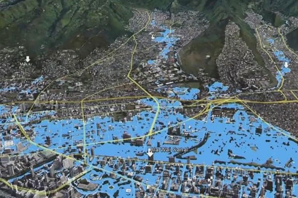 An Army Coprs of Engineers flood model depicting the Ala Wai watershed after a 100-year rain event.