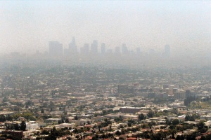 LA skyline covered in smog