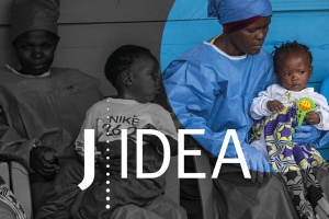 African doctors holding children with J-IDEA logo on top