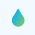 Water droplet with blue green gradient